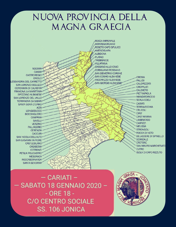MAGNA GRAECIA, IL COMITATO PRESENTA REPORT. EVENTO A CARIATI SABATO 18 GENNAIO 2020