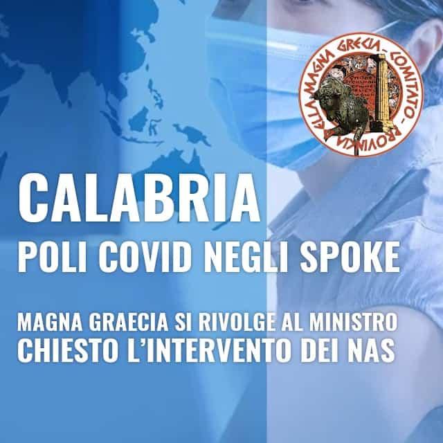 CALABRIA, POLI COVID NEGLI SPOKE MAGNA GRAECIA SI RIVOLGE AL MINISTRO. CHIESTO L'INTERVENTO DEI NAS